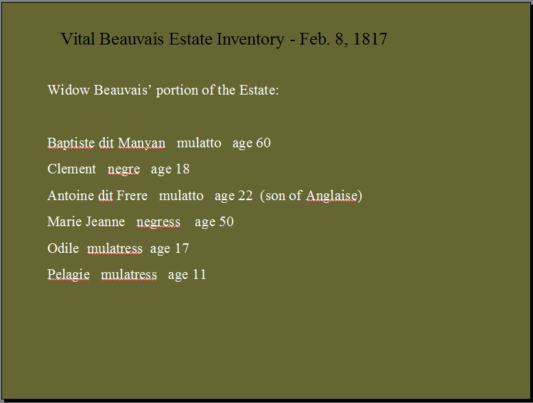 Vital Beauvais Estate Inventory
