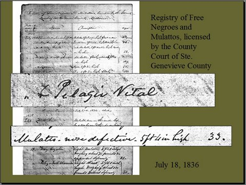 Registry of Free Negroes and Mulattoes, Ste. Genevieve MO, 1836 close-up