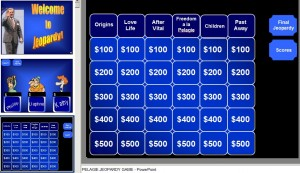 This is a photo of a Jeopardy game with answers and questions about Pelagie and her life as a slave and a free woman.