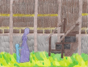 this is a photo of a pastel drawing of a faceless woman and child approaching the steps to the Amoureux House.