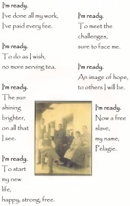 This is a poem written by a student and also a photo of the Amoureux family on the porch of their house.