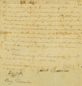 This is a photo of the Emancipation Document for Pelagie and Felix